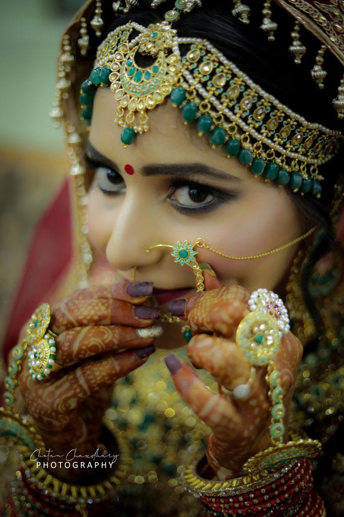 Wedding attires for bride's farmhouse in Faridabad